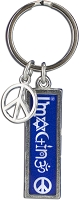 J233 - Imagine Interfaith Resin Cast Pendant with Peace Charm Keychain Key Ring