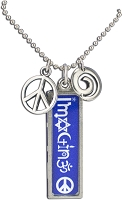 J220 - Imagine Interfaith Resin Cast Pendant with Peace Symbol Charms and Ball Chain