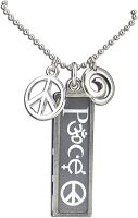 J222 - Peace Interfaith Resin Cast Pendant with Peace Symbol Charms and Ball Chain