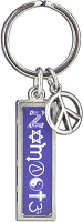J237 - Namaste Interfaith Resin Cast Pendant with Peace Charm Keychain Key Ring