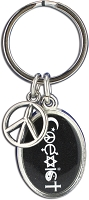 J238 - Coexist Oval Interfaith Resin Cast Pendant with Peace Charm Keychain Key Ring
