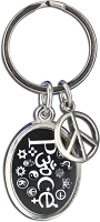 J239 - Peace Oval Interfaith Resin Cast Pendant with Peace Charm Keychain Key Ring