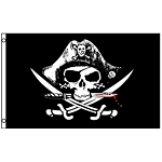 FLG012 - Deadman's Chest Skull and Crossbones Tri-corner Hat Pirate Flag