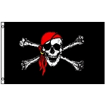 FLG013 - Jolly Roger Skull and Crossbones Red Bandana Pirate Flag