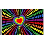 FLG015 - Rainbow Love Rainbow Hearts Flag