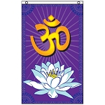 FLG020 - Om / Aum Lotus Flower Flag