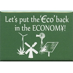 FM014 - Let's Put The ECO Back in the Economy Green Fridge Magnet