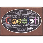 FM037 - Coexist in 55 Languages Rectangular Fridge Magnet