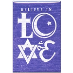 FM055 - I Believe in LOVE Interfaith Symbols Fridge Magnet