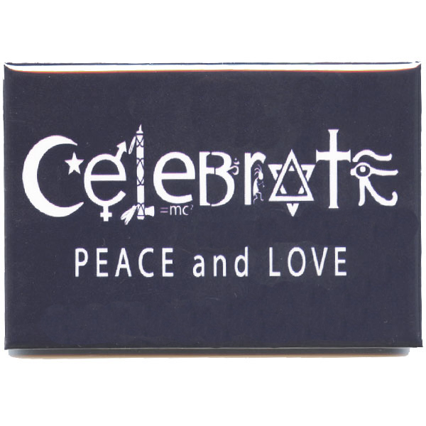 Celebrate Peace And Love Symbols Fridge Magnet