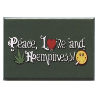 FM076 - Peace, Love, and Hempiness Fridge Magnet
