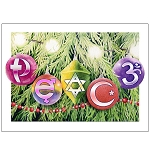 GC001 - Peace Symbols Ornaments Holiday Greeting Card
