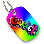 DT002 - Happy Coexist Full Color Dog Tag with Chain