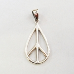 J008 - Sterling Teardrop Peace Pendant