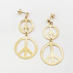 J011 - Stacked Gold Plated Peace Symbol Earrings