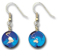 J017 - Earrings, Blue Earth Marbles, with 22k Gold Continents, Gold Fill Findings, Recycled Glass, Half Inch Diameter