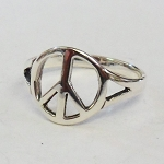 J033 - Peace Symbol Sign Dainty Thin Silver Tone Ring all sizes