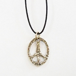 J054 - Small Hammered Metal Peace Pendant