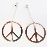J058 - Large Stainless Peace Dangle Earrings