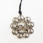 J064 - Large Peace Word surrounded by peace symbols Pendant w/cord
