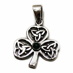 J133 - Sterling Celtic Three Leaf Clover Pendant