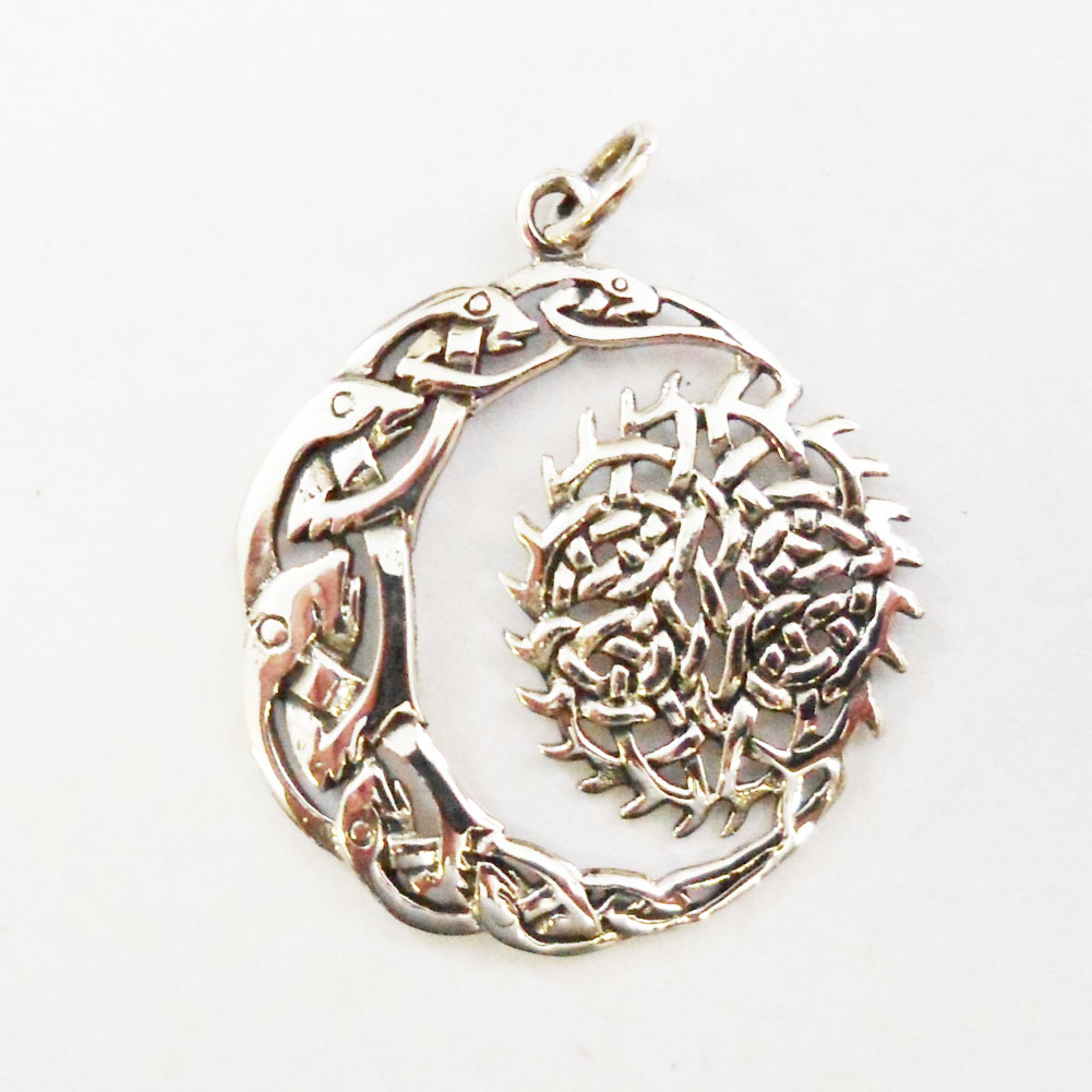 Sterling silver celtic moon and sun pendant j138 sterling celtic moon and sun pendant aloadofball Gallery