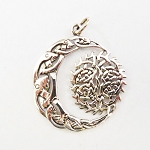 J138 - Sterling Celtic Moon and Sun Pendant