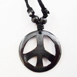 J183 - Bone Peace Sign With Cord Necklace