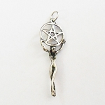 J196 - Hearth Dancer Pentacle Pewter Amulet