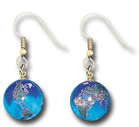 J314 - Earrings, Blue Earth Marbles, with Natural Earth Continents, Gold Fill Bindings, Recycled Glass, Half Inch Diameter
