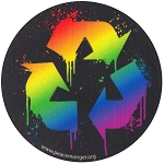 CM008 - Splatter Recycle Rainbow Full Color Round Mini Sticker