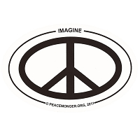 OM007 - Imagine PEACE Mini Oval ID Sticker