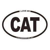 OM013 - I Love My CAT Mini Oval ID Sticker