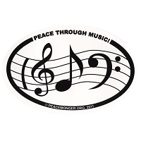 OS016 - Peace Through Music Oval Bumper Sticker