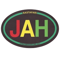 OM017 - Rastafari - JAH Colorful Mini Oval ID Sticker