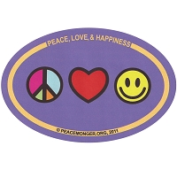 OS019 - PEACE, LOVE and HAPPINESS Color Oval Bumper Sticker