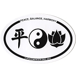 OM020 - Peace, Balance, Harmony Mini Oval ID Sticker
