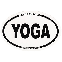 OM021 - Peace Through Yoga Mini Oval ID Sticker