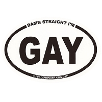 OM023 - Damn Straight I'm GAY Mini Oval ID Sticker