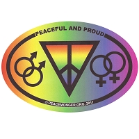 OS024 - Peaceful and PROUD Color Oval Bumper Sticker