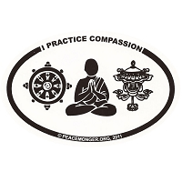 OM025 - I Practice COMPASSION Mini Oval ID Sticker