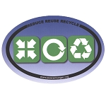 OS027 - Reduce, Reuse, Recycle full color oval Bumper Sticker