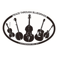 OM029 - Peace Through Bluegrass Mini Oval ID Bumper Sticker