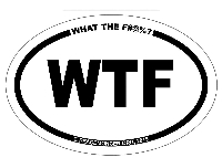 OM044 - WTF Oval ID Bumper Sticker