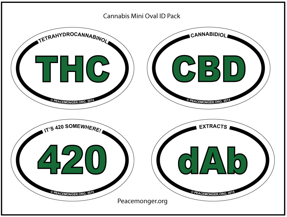 Os420 pack cannabis mini oval id pack bumper stickers