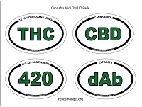OS420-pack -  Cannabis Mini Oval ID Pack Bumper Stickers