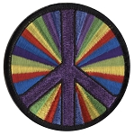 P002 - Rainbow Tunnel Peace Symbol Embroidered Patch