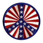 P004 - Peace Symbol Flag Tunnel Embroidered Patch