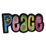 P005a - Peace Flowers Embroidered Patch