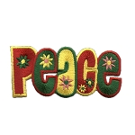 P005b - Peace Rasta Flower Iron on Embroidery Patch